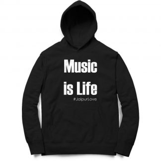 Buy Black Branded Hoodie Music Is Life