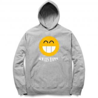 Buy Melange Grey Branded Hoodie Always Happy