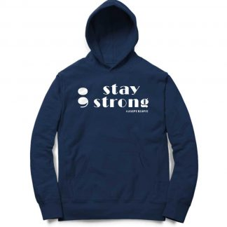 Buy Navy Blue Branded Hoodie Stay Strong