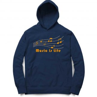 Buy Navy Blue Branded Hoodie Music Life